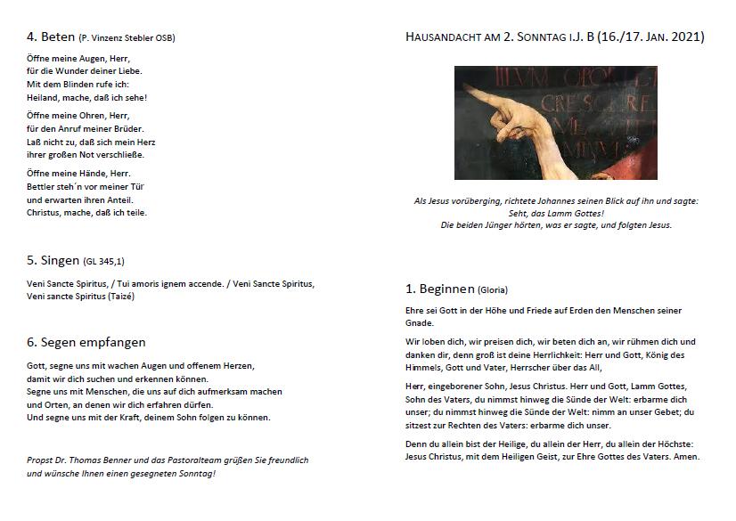 Hausandacht 16./17.1. (2. Sonntag im Jk B)